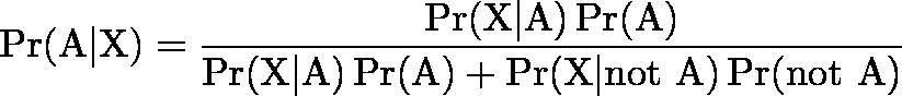 \displaystyle{\Pr(\mathrm{A}|\mathrm{X}) = \frac{\Pr(\mathrm{X}|\mathrm{A})\Pr(\mathrm{A})}{\Pr(\mathrm{X|A})\Pr(\mathrm{A})+ \Pr(\mathrm{X | not \ A})\Pr(\mathrm{not \ A})}}