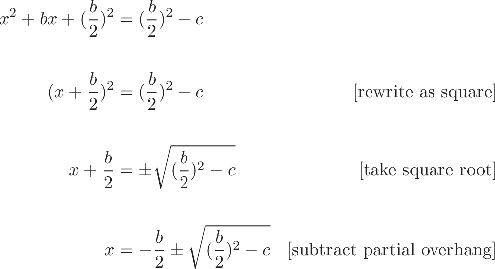 {\begin{aligned} x^2 + bx + (\frac{b}{2})^2 &= (\frac{b}{2})^2 - c  \\ \\ (x + \frac{b}{2})^2 &= (\frac{b}{2})^2 - c  & \text{[rewrite as square]} \\ \\ x + \frac{b}{2}  &= \pm \sqrt{(\frac{b}{2})^2 - c} & \text{[take square root]}  \\ \\ x &= -\frac{b}{2} \pm \sqrt{(\frac{b}{2})^2 - c} & \text{[subtract partial overhang]} \end{aligned}}