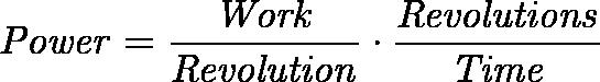 \displaystyle{\mathit{ Power = \frac{Work}{Revolution} \cdot \frac{Revolutions}{Time} }}