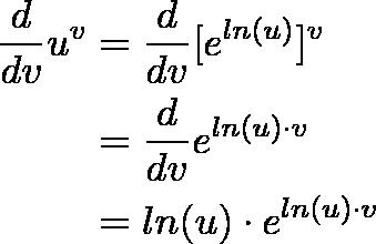 \begin{align*}\frac{d}{dv} u^v &= \frac{d}{dv} [e^{ln(u)}]^v \\&= \frac{d}{dv} e^{ln(u) \cdot v} \\ &=  ln(u) \cdot e^{ln(u) \cdot v}\end{align*}