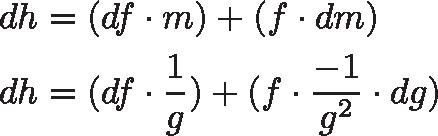 \begin{aligned} dh &= (df \cdot m) + (f \cdot dm) \\ dh &= (df \cdot \frac{1}{g}) + (f \cdot \frac{-1}{g^2} \cdot dg) \end{aligned}