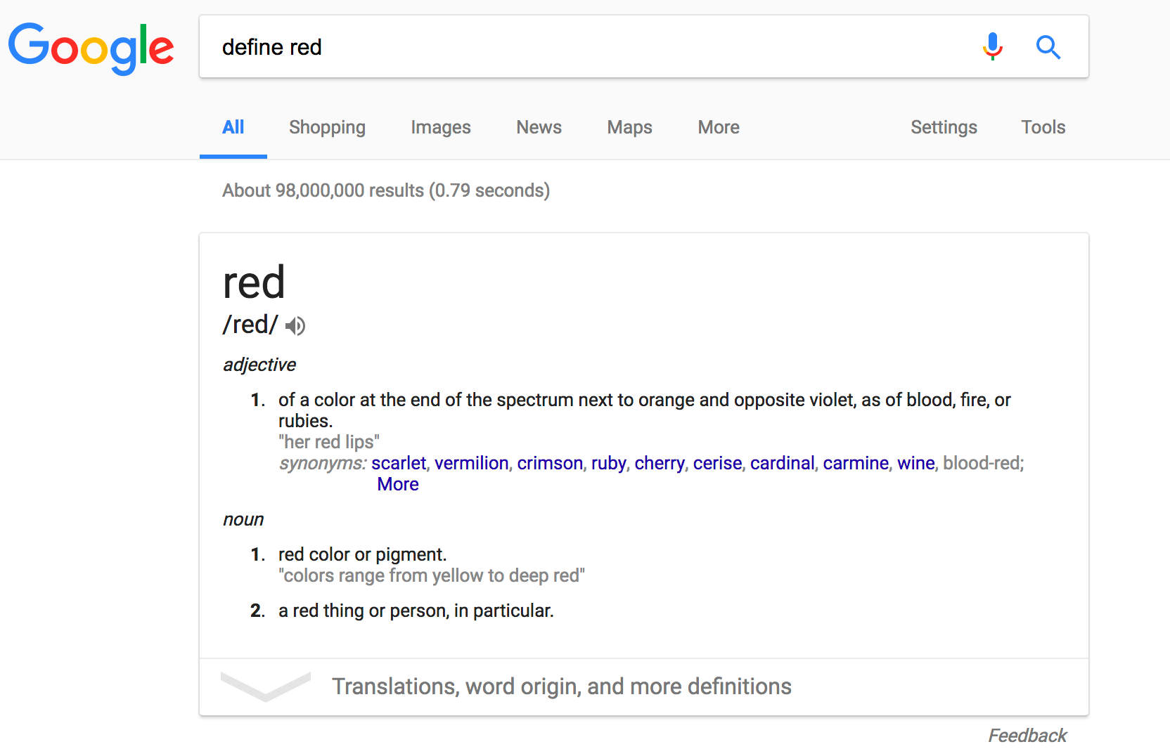define color red